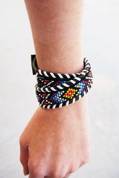 Recycled Beaded Leather Rainbow Chevron Choker or Bracelet