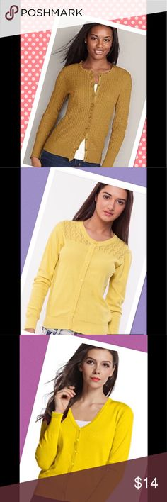 """✂️Canary Yellow Sweater Soft as Cashmere✂️ Beautiful over a jean or a dress for all your dinner parties.  Bundle with one of my dresses or pants or skirts and save.  Shoulder to bottom 25"""" armpit across 17"""".  Stretch fabric.  Fits S-M.  Model pic is to offer ideas.  ❣️I am open to all offers BUNDLE & send me your offer🌹 Petite Sophisticate Sweaters"""