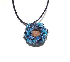 Beaded Acorn Cap Natural Necklace Blue Elegant by midnightcoiler