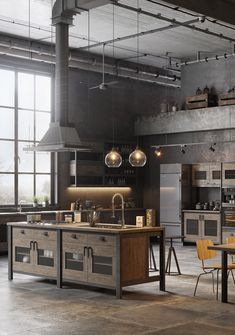 Home Decor Luxury Industrial loft kitchen design.Home Decor Luxury Industrial loft kitchen design Industrial Style Kitchen, Rustic Home Interiors, Home Remodeling, Cheap Home Decor, Cheap Living Room Decor, Loft Kitchen, Kitchen Design, French Home Decor, Rustic House