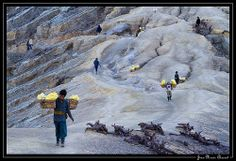 This is the route they must travel everyday to mine the sulfur. Ijen Crater, Indonesia