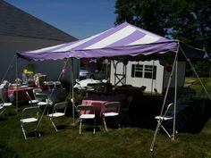 20' x 20' Lavender & White Canopy Tent installed for a Summer Baby Shower