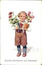 Artiste Carte postale Feiertag, Karl, Glückwunsch Geburtstag, Junge mit Blumenvasen