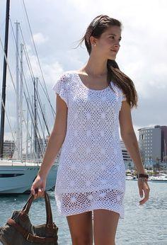 Crochetemoda: Vestido Branco Crochet