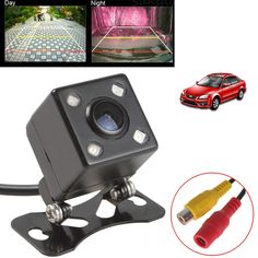 Universal Waterproof Rear View Camera Wide Angle Car Back Reverse Camera  CCD 4 LED Light Night Vision Parking Assistance Camera ** Find out more by clicking the image