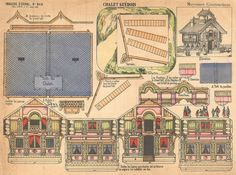 Vintage French paper toy sheet - Architectural Chalet Suedois by d'Epinal No. 819 posted on Flickr by Pilllpat at https://www.flickr.com/photos/taffeta/13972464940/.  She has lots of other great vintage d'Epinal paper toy sheets at https://www.flickr.com/photos/taffeta/sets/72157626790129899/