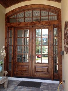 Furnitures, : Solid Wood Exterior Entrance Door With Half Framed Glass And Side Lighting Ideas Design