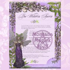 The WISTERIA FAERIE, Digital Download, Faerie, Instant Download, Book of Shadows Page, Grimoire, Scrapbook, Spells by MorganaMagickSpell on Etsy