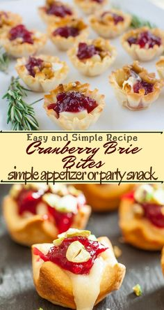 Cranberry Brie Bites Cranberry Brie nibbles – a straightforward hors d'oeuvre or gathering nibble. These Cranberry and Brie Bites consistently gets finished in minutes! Brie Puff Pastry, Puff Pastry Appetizers, Brie Appetizer, Christmas Appetizers, Brie Bites, Quick And Easy Appetizers, Easy Appetizer Recipes, Recipes Dinner, Lunch Recipes