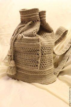 Рюкзаки ручной работы. Ярмарка Мастеров - ручная работа. Купить Вязаный рюкзак. Handmade. Бежевый, рюкзак ручной работы
