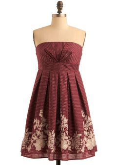 Cranberry and cream embroidery.