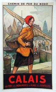 Vintage Poster Calais - Affiche Chemin de fer du Nord Calais