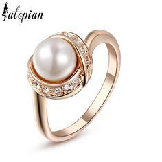 Lutopian Ring Austrian Crystal Pearl Ring