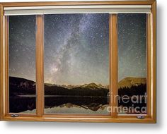 Rocky Mountains Milky Way Sky Classic Window View  Metal #wallArt Print By James Bo  Insogna #insognaGallery #art