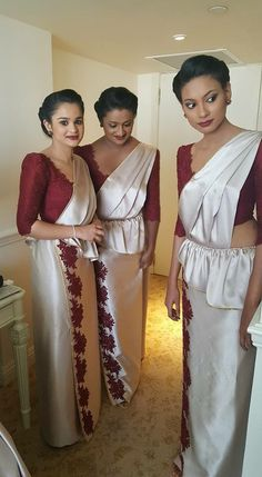Bridesmaid Saree, Wedding Bridesmaids, Saree Wearing Styles, Srilankan Wedding, Saree Wedding, Wedding Dresses, Saree Jackets, Silk Saree Blouse Designs, Wedding Makeup Looks