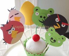 Angry birds cupcake toppers