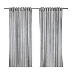 IKEA GULSPORRE Gardinenpaar in weiß und grau; (145x300cm) Vorhang Vorhänge
