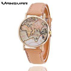 Vansvar Brand Fashion World Map Watch Casual Women Dress Watches Quartz Watches Relogio Feminino Gift 1133