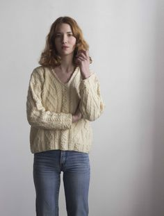 Cream Wool Fisherman Aran Cable Knit V-neck by waywardcollection