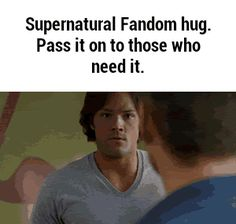Yayy hugs all round! Need this after watching almost any episode of Supernatural<<<give to the Merlin fandom! Supernatural Destiel, Castiel, Supernatural Imagines, Supernatural Bloopers, Supernatural Tattoo, Supernatural Wallpaper, Sam Dean, Misha Collins, Jared Padalecki