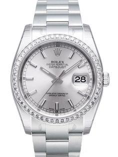 Rolex Datejust 36 Edelstahl Weißgold Diamant Lünette 116244 Silber