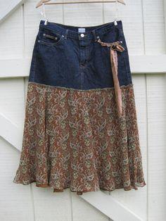 Boho cowgirl skirt, Prairie skirt denim, heart patch skirt,cowgirl skirt, funky romantic skirt medium upcycled medium Ready to ship Cowgirl Skirt, Cowgirl Boots, Denim Boho, Jean Diy, Northern Girls, Prairie Skirt, Recycle Jeans, Gypsy Skirt, Jeans Rock