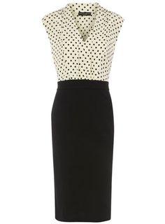 polka dot 2 in 1 pencil skirt dress
