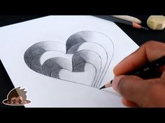 How to draw steps hole heart - drawing videos for kids art and craft tv Easy 3d Drawing, 3d Drawing Tutorial, 3d Art Drawing, Drawing Videos For Kids, Art Drawings For Kids, Easy Drawings, Cute Heart Drawings, I Love You Drawings, Illusion Drawings