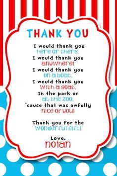 Dr. Seuss Thank You Poem