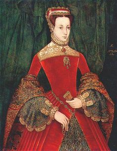 1555- Mary Fitzalan, Duchess of Norfolk, by Hans Eworth  Gown with sleeves puffed below the elbow, a very English fashion. Under sleeves are puffed and the French headdress has a triangular, instead of rounded, shape.