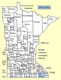 MINNESOTA COUNTY MAP US Minnesota Genealogy Pinterest - County maps of minnesota