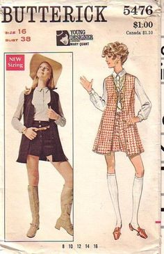 Young Designer: Mary Quant, Butterick 5476, 1969, size 12, bust 34, jacket used, blouse & shorts complete