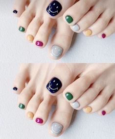 Pedicure Nails, Shellac Nails, Funky Nails, Trendy Nails, Korean Nails, Feet Nails, Swag Nails, Short Nails, Nail Tips