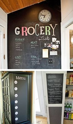 Chalkboard grocery list in the kitchen. I could totally do this on my pantry doors!