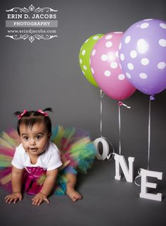 Love the idea of the balloons attached to the letters.   First Birthday Photo Shoot @Brandy Waterfall bickford long