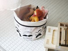 Mustache Fabric Bucket by Toriee by gainstory on Etsy, $69.90