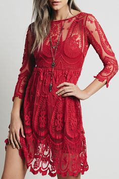 Solid Color See-Through 3/4 Sleeves Openwork Lace Dress