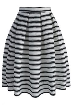 Contrast Striped Cutout Pleated Skirt - New Arrivals - Retro, Indie and Unique Fashion