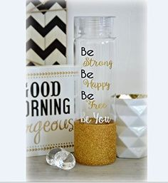 """Be Strong Water Bottle, Be Free Water Bottle, Be Courageous, Be You Water Bottle, BPA Free Water Bottle, Glitter Dipped Water Bottle. ♥ Product Dimensions:♥ 2 7/8"""" W x 10 3/8"""" H - 32oz Acrylic/Plastic BPA Free Bottle - Hard Twist On Top with Silicone seal inside the lid Glitter is fully sealed and design is made with a Strong/Durable vinyl that will stay in tact with proper care."""