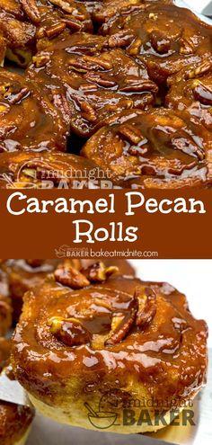 Caramel Pecan Rolls - The Midnight Baker - Cinnamon Rolls Recipes - Pecan Recipes Caramel Rolls, Caramel Pecan, Desserts Caramel, Easy Desserts, Caramel Recipes, Cinnamon Desserts, Baker Recipes, Pecan Recipes, Cooking Recipes