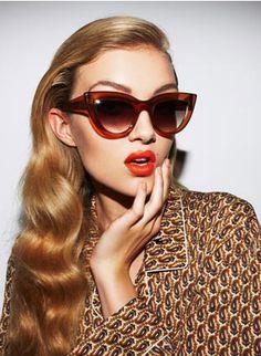 Cat Eye Sunglasses and amazing wavy hair