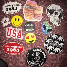 Lot of 30 Brandy Melville Stickers with bonus ones Brand new Brandy Melville Sticker Lot of 30 Multiples Available Just Ask  USA New York 1984 Los Angeles 1984  CA Surfer Girl CA Palm Trees  Doughnuts  I'll Sleep When I'm Dead Skull Smiley Emoji  Smiley Heart Eyes Emoji Ghost Emoji Come As You Are  Alien Reflective Silver Brandy Melville Bags