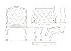 1:10 scale rococo armchair drawing