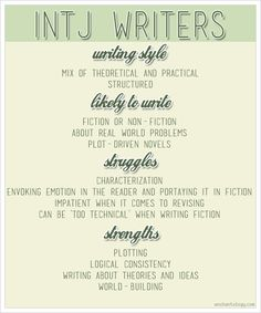 How being an INTJ affects how you write - http://www.enchantology.com/2013/02/intj-writers.html