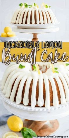 Incredible lemon bundt cake is bursting with lemon flavor throughout. Completely made from scratch drizzled with lemon cream cheese frosting and a lemon glaze sauce over the cake. Delicious Cake Recipes, Pound Cake Recipes, Easy Cake Recipes, Yummy Cakes, Baking Recipes, Great Desserts, Köstliche Desserts, Chocolate Desserts, Dessert Recipes