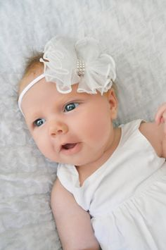 Blessing day! Pure WHITE Hair Bow Headband Pearls Ruffled Ruffles Baby Infant Newborn Toddler Girls Baptism Christening Bowtique Photography Prop on Etsy, $9.99