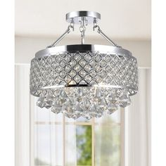Candice Chrome and Crystal Semi Flush Mount Chandelier - 16649629 - Overstock Shopping - Big Discounts on The Lighting Store Flush Mounts Flush Mount Chandelier, Crystal Chandelier Lighting, Round Chandelier, Ceiling Chandelier, Flush Mount Lighting, Chandeliers, Ceiling Lights, Ceiling Fans, Closet Chandelier