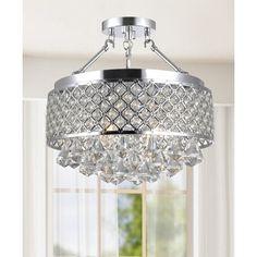Nerisa 4-light Chrome Semi-flush Mount Crystal Chandelier - 15998618 - Overstock Shopping - Great Deals on The Lighting Store Chandeliers & Pendants