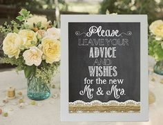 Advice And Wishes Wedding Sign Chalkboard by justforkeeps on Etsy, $10.00