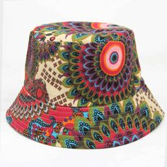 d4ece37e6cf Summer Women Boonie Hat Bucket Hat Tradition Peacock Tail Print Flat  Hunting Fisherman Girls Floral Outdoor
